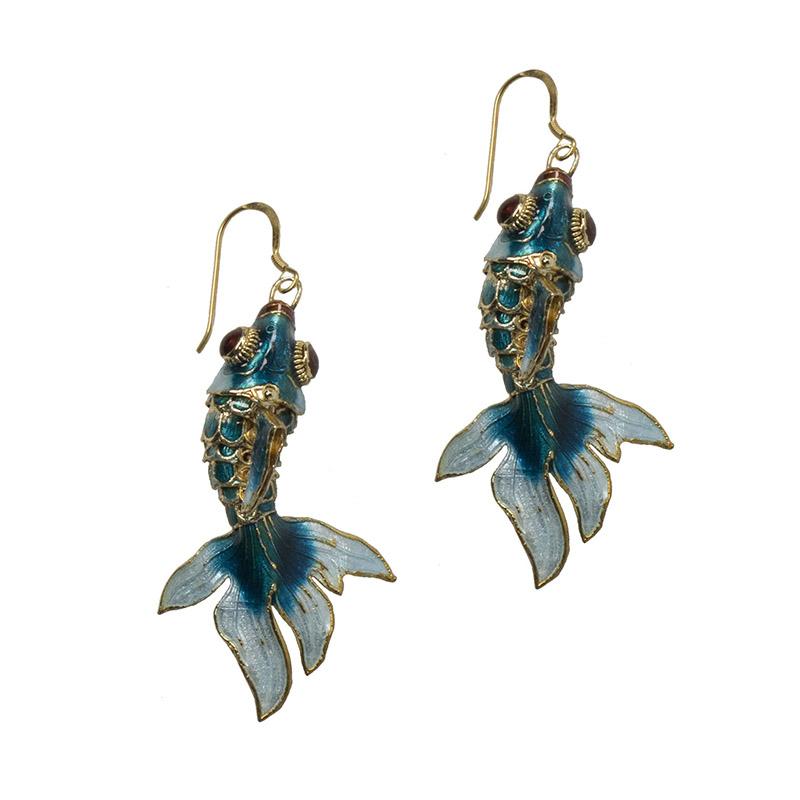 Jt Ασημένια κρεμαστά σκουλαρίκια χρυσά ψάρια κλουαζονέ