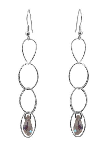 Jt Ασημένια σκουλαρίκια αλυσίδα με Swarovski