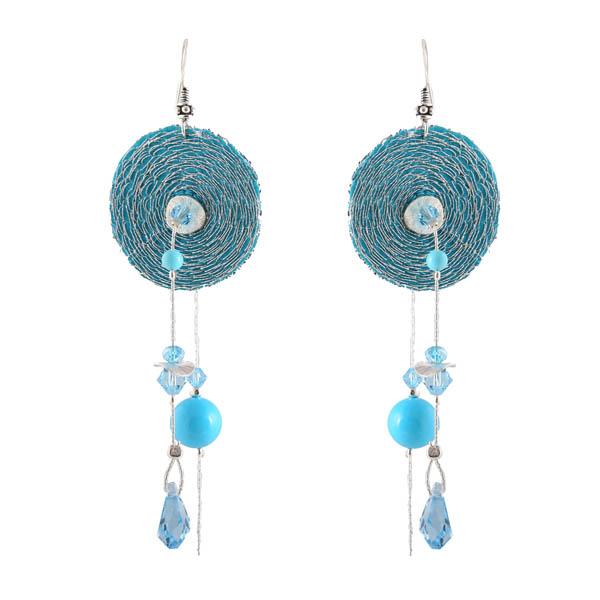 Jt Ασημένια κρεμαστά σκουλαρίκια μπλε στόχοι