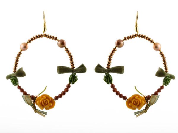 Jt Ασημένια σκουλαρίκια κρίκοι με λουλούδια από οπάλιο