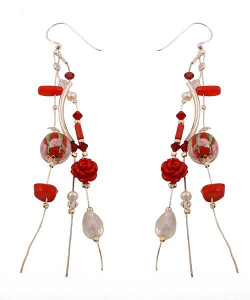 Jt Ασημένια σκουλαρίκια αλυσίδες με λουλούδια κόκκινα