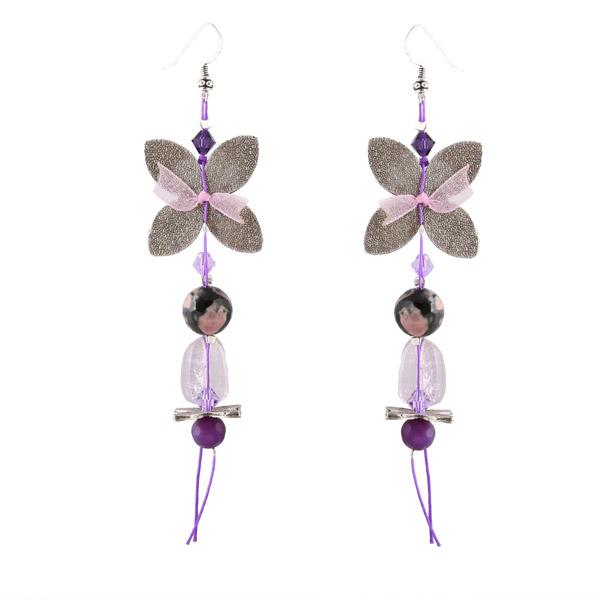 Jt Ασημένια κρεμαστά σκουλαρίκια πεταλούδες μωβ