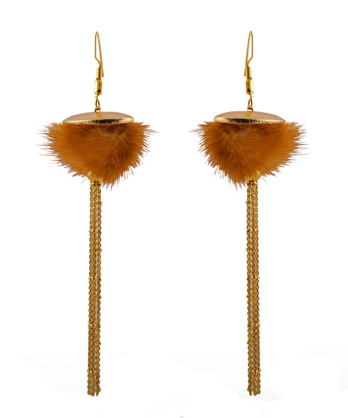 Jt Ασημένια μακριά σκουλαρίκια αλυσίδες με συνθετική γούνα
