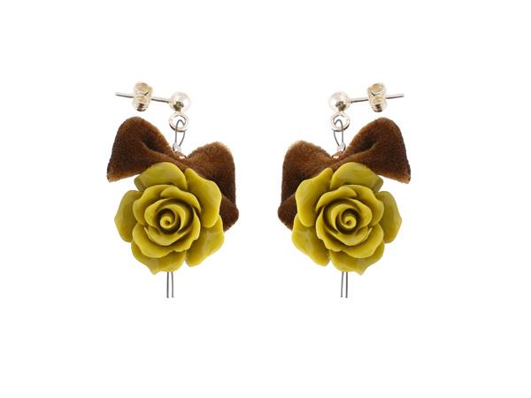 Jt Ασημένια κρεμαστά σκουλαρίκια πράσινα τριαντάφυλλα