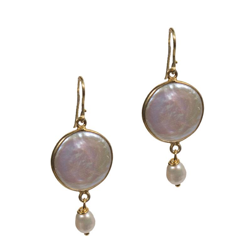 Jt Ασημένια χρυσά κρεμαστά σκουλαρίκια μαργαριτάρι
