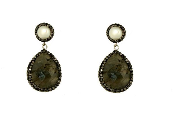 Jt Ασημένια κρεμαστά σκουλαρίκια με μαργαριτάρια και αχάτη