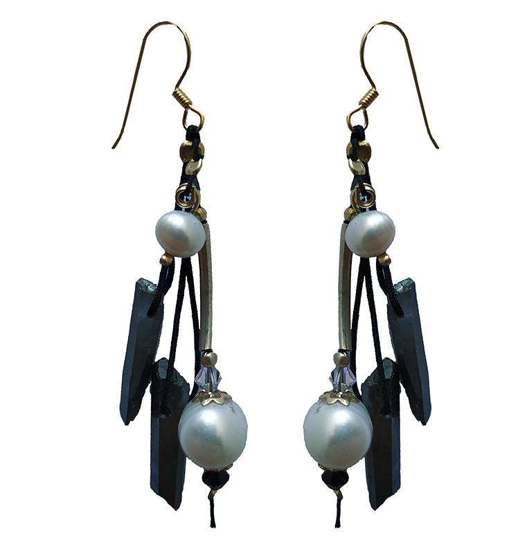 Jt Ασημένια σκουλαρίκια σιδηροπυρίτης, μαργαριτάρια, Swarovski