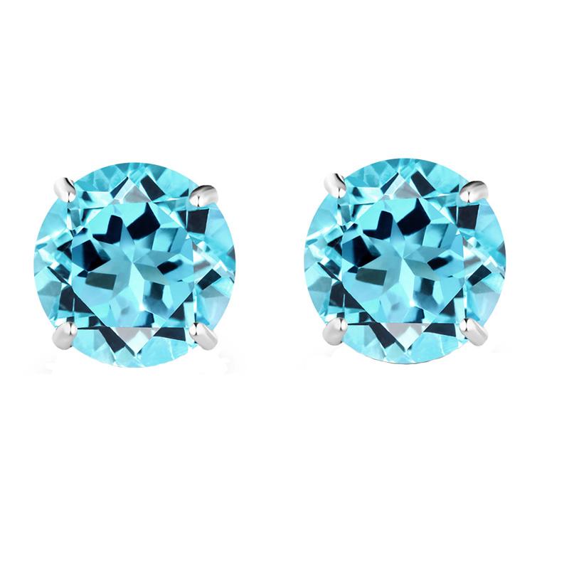 Jt Ασημένια μονόπετρα σκουλαρίκια γαλάζια ζιργκόν 5mm