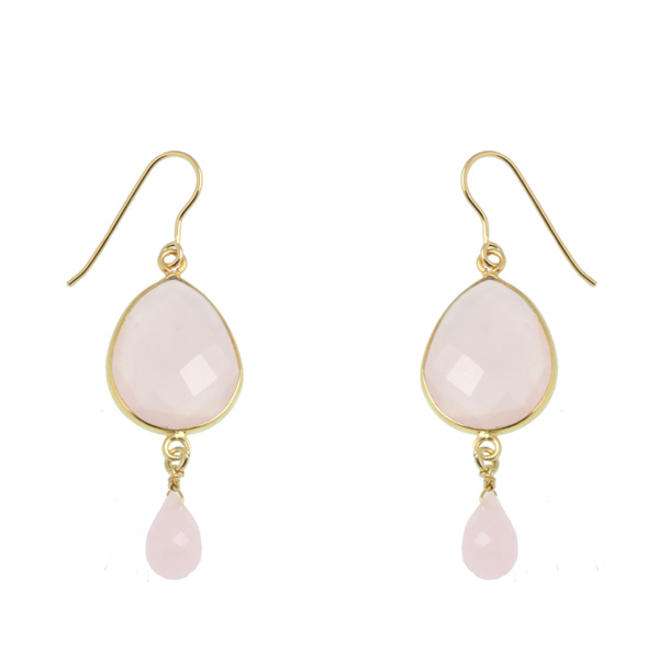 Jt Ασημένια σκουλαρίκια δάκρυ ροζ χαλαζία & Swarovski