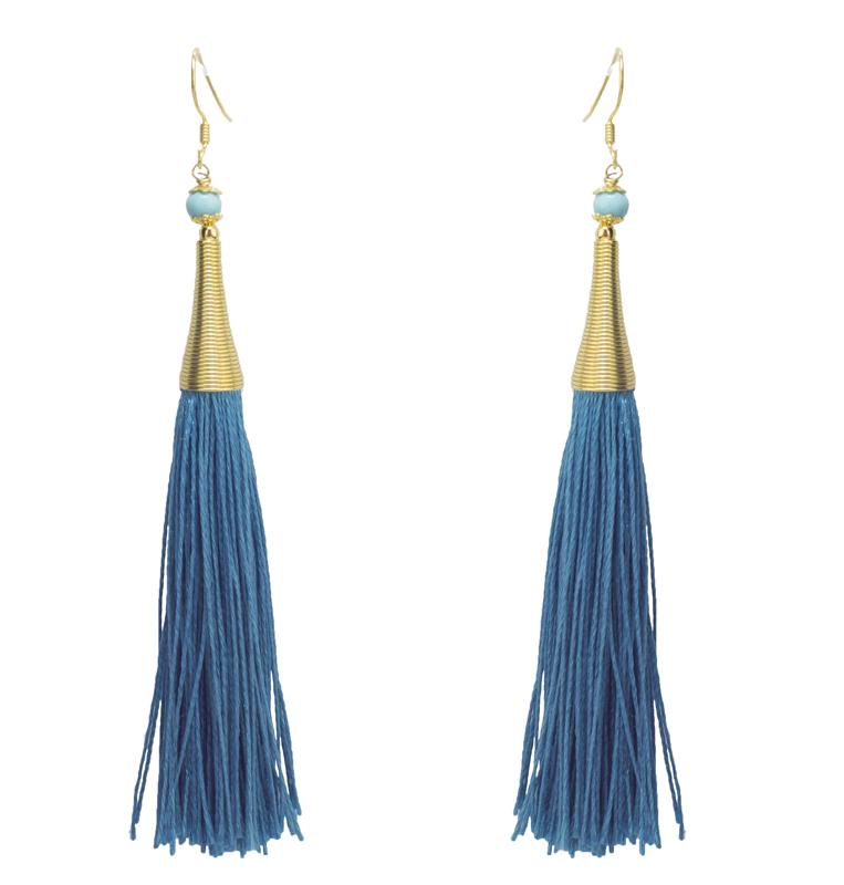 Jt Ασημένια μακριά σκουλαρίκια Boho μπλε φούντες