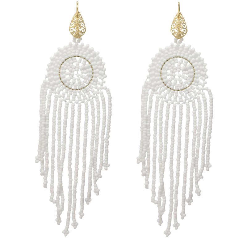 Jt Ασημένια κρεμαστά σκουλαρίκια Boho λευκές χάντρες