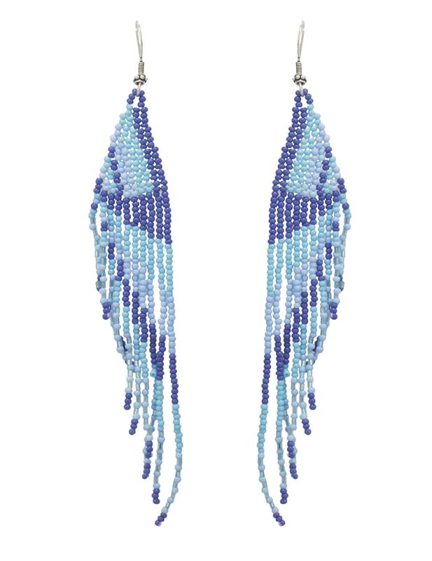 Jt Ασημένια κρεμαστά boho σκουλαρίκια μπλε χάντρες