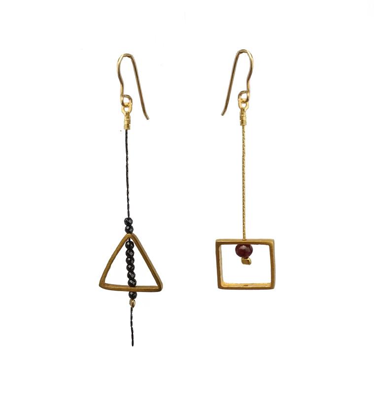 Jt Ασημένια γεωμετρικά σκουλαρίκια τετράγωνα και τρίγωνα