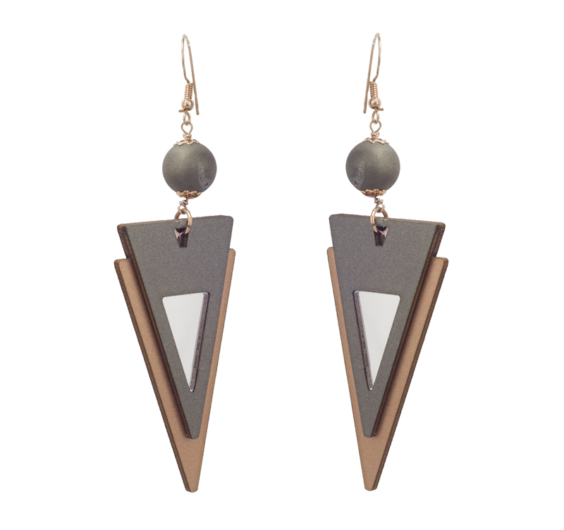 Jt Ασημένια κρεμαστά γεωμετρικά σκουλαρίκια Boho με αχάτη