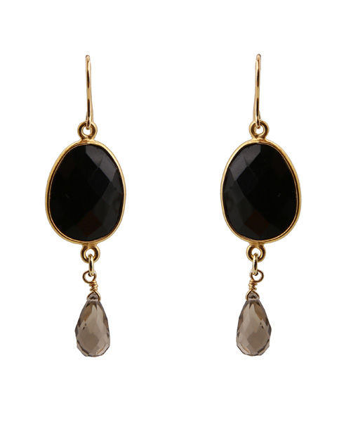 Jt Ασημένια σκουλαρίκια δάκρυ μαύρος όνυχας & Swarovski