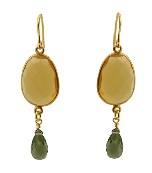 Jt Ασημένια σκουλαρίκια δάκρυ κίτρινος χαλαζίας & Swarovski