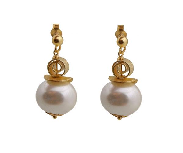 Jt Ασημένια σκουλαρίκια λευκά shell pearls με Swarovski