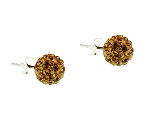 Jt Ασημένια σκουλαρίκια μπάλα χρυσαφιά Swarovski