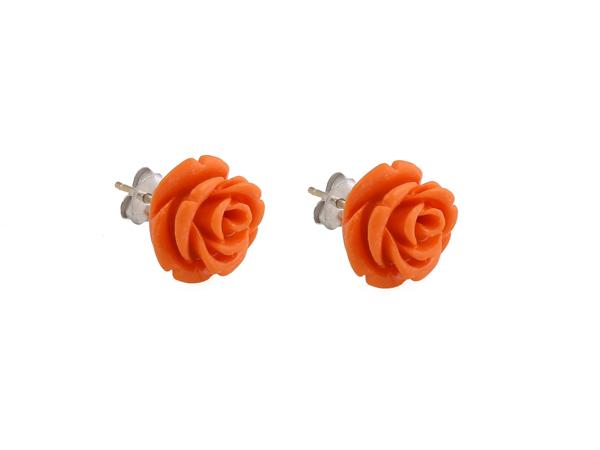 Jt Ασημένια σκουλαρίκια τριαντάφυλλα κοράλλι