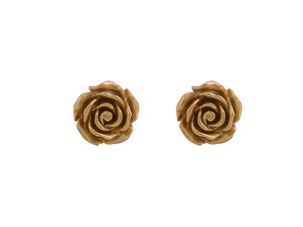 Jt Ασημένια σκουλαρίκια χρυσαφιά τριαντάφυλλα