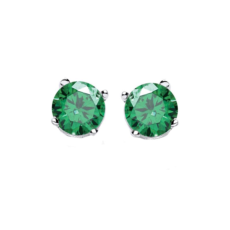 Jt Ασημένια μονόπετρα σκουλαρίκια πράσινα ζιργκόν 3mm