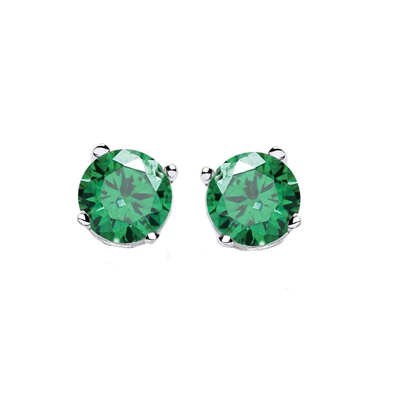 Jt Ασημένια μονόπετρα σκουλαρίκια πράσινα ζιργκόν 4mm