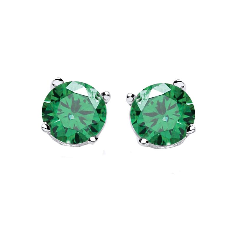 858ecbef5d Jt Ασημένια μονόπετρα σκουλαρίκια πράσινα ζιργκόν 5mm