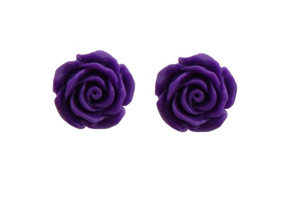 Jt Ασημένια καρφωτά σκουλαρίκια μωβ τριαντάφυλλα