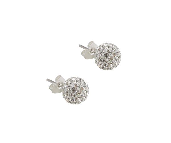 Jt Ασημένια σκουλαρίκια μπάλα λευκά Swarovski