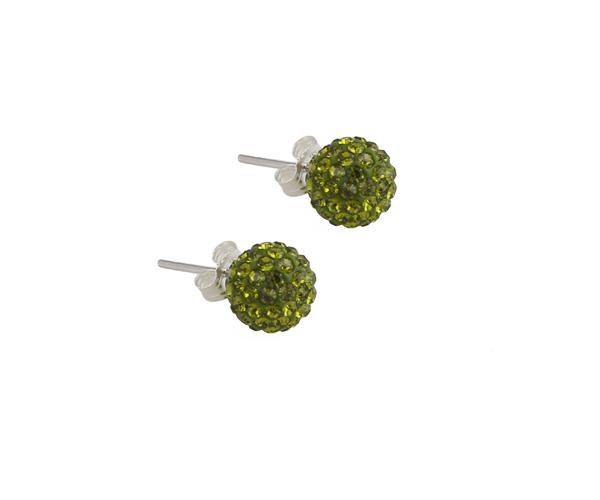 Jt Ασημένια σκουλαρίκια μπάλα πράσινα Swarovski