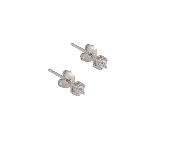 Jt Ασημένια μικρά μονόπετρα σκουλαρίκια λευκό ζιργκόν