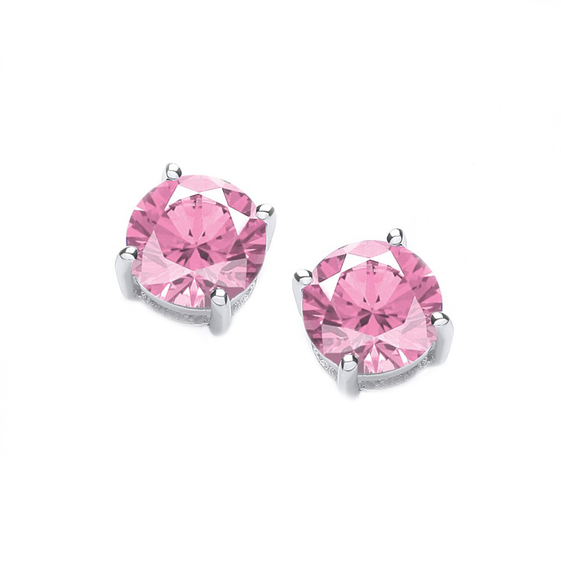 Jt Ασημένια μονόπετρα σκουλαρίκια ροζ ζιργκόν 4mm