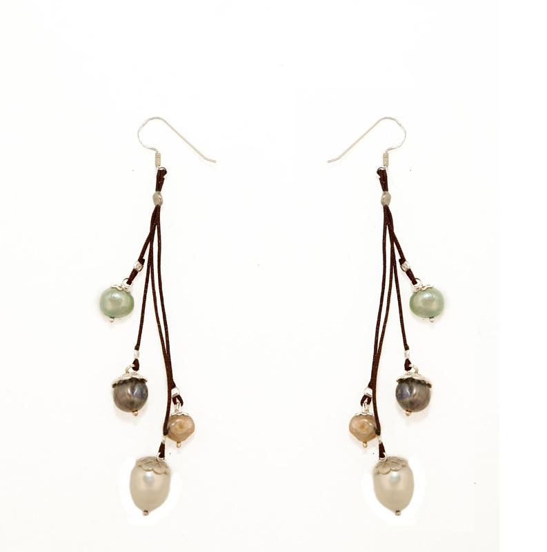 Jt Ασημένια κρεμαστά σκουλαρίκια πολύχρωμα μαργαριτάρια