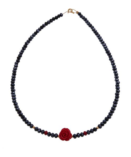 Jt Ασημένιο κολιέ λουλούδι κόκκινο κοράλλι