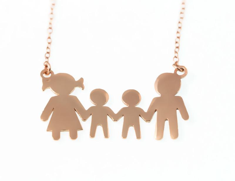 Jt Ασημένιο κολιέ οικογένεια με δύο αγόρια