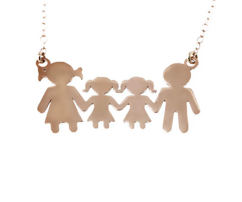 Jt Ασημένιο κολιέ οικογένεια με δύο κορίτσια