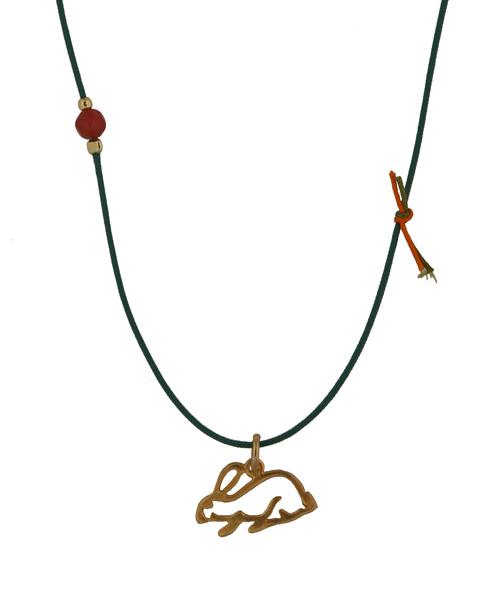 Jt Παιδικό κολιέ λαγός με ασήμι, χρυσό και πράσινο κορδόνι
