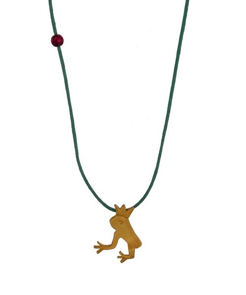 Jt Παιδικό κολιέ πρίγκιπας βάτραχος με ασήμι, χρυσό & χαλαζία