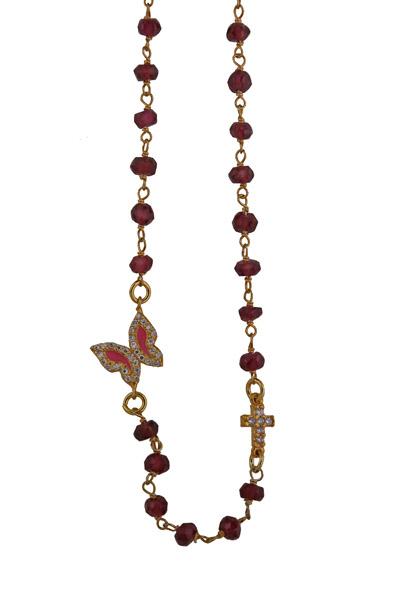Jt Ασήμι επιχρυσωμένο link chain κολιέ πεταλούδα με ζιργκόν