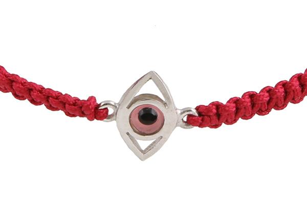 Jt Παιδικό βραχιόλι μακραμέ ροζ μάτι με επιχρυσωμένο ασήμι
