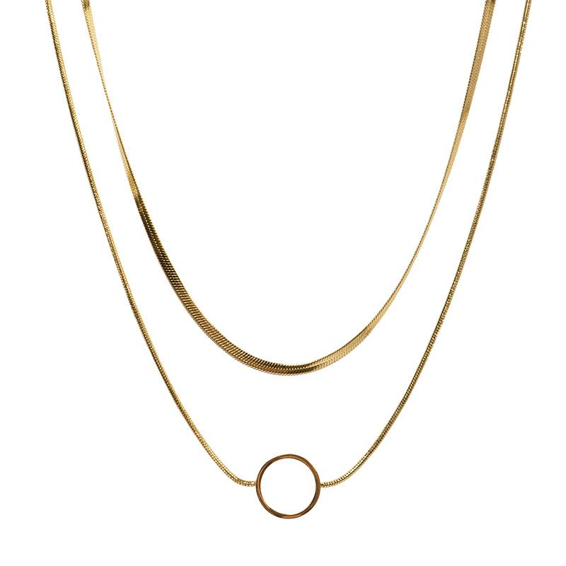 AD Διπλό κολιέ χρυσή αλυσίδα φίδι και κύκλος ατσάλι