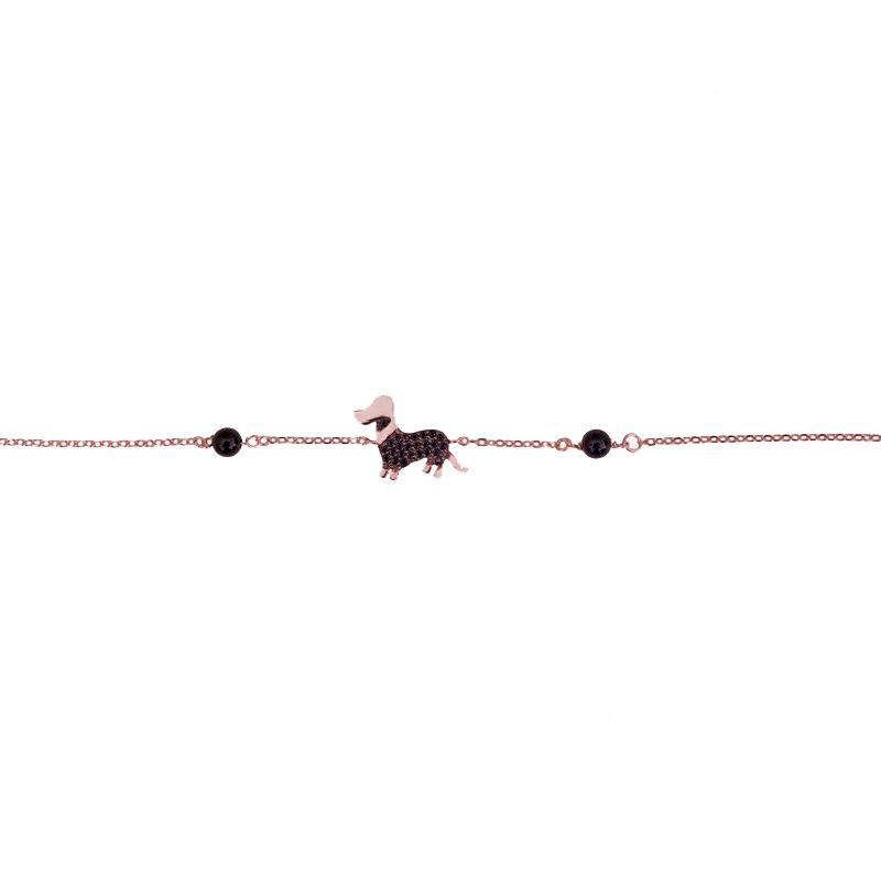 Jt Ροζ ασημένιο βραχιόλι σκύλος με μαύρα ζιργκόν
