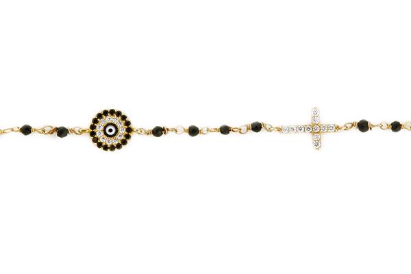 Jt Ασημένιο link chain βραχιόλι μάτι με σταυρό και ζιργκόν