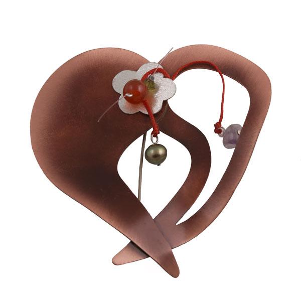 Krini Ασημένια καρφίτσα καρδιά από χαλκό, μαργαριτάρια