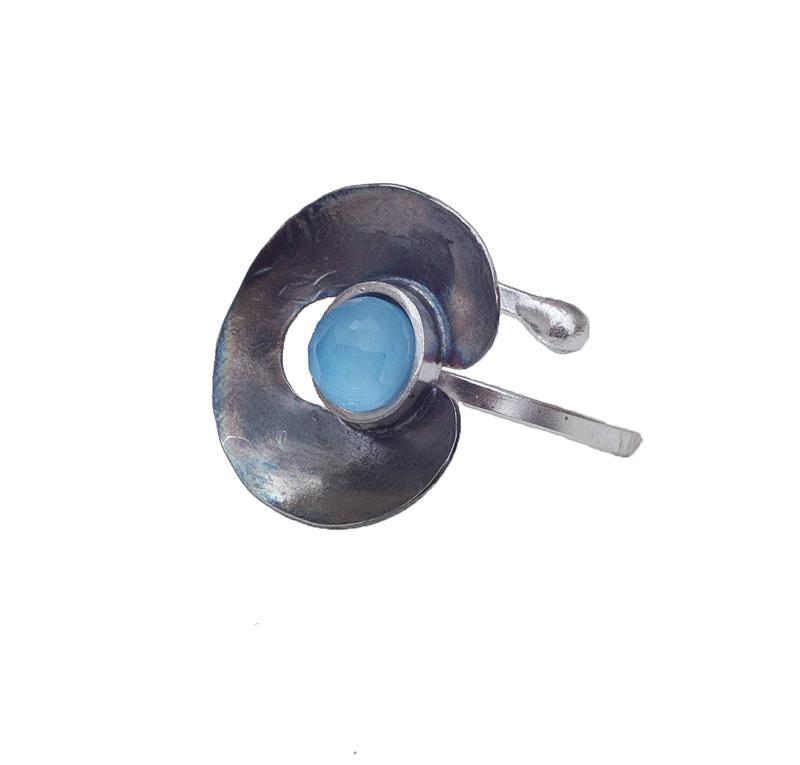 Krini Ασημένιο δαχτυλίδι με γαλάζιο Αμαζονίτη