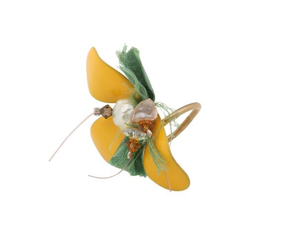 Krini Ασημένιο δαχτυλίδι με μισό κίτρινο λουλούδι και Swarovski