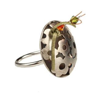 Krini Ασημένιο δαχτυλίδι λουλούδια με κρύσταλλα Swarovski