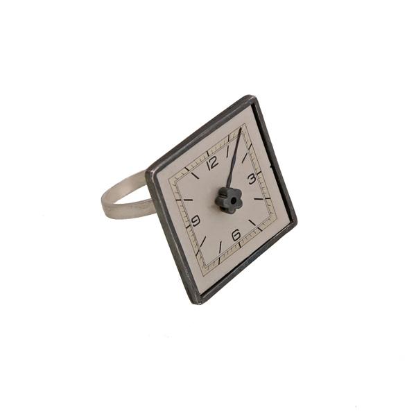 Krini Ασημένιο τετράγωνο δαχτυλίδι με vintage ρολόι