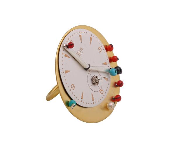 Krini Επιχρυσωμένο δαχτυλίδι ρολόι με ημιπολύτιμες πέτρες