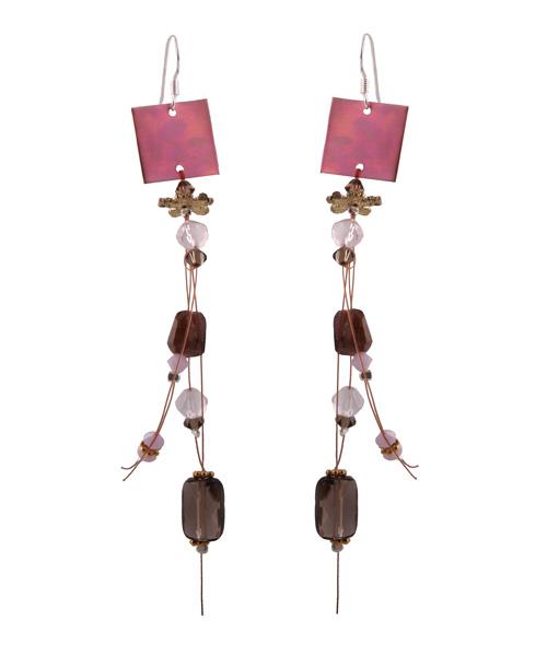 Krini Aσημένια σκουλαρίκια τετράγωνο τιτάνιο με Swarovski